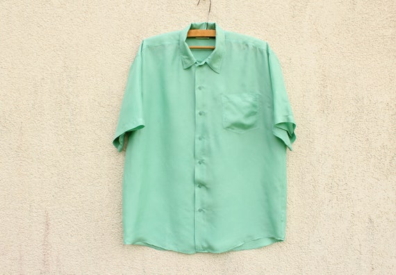 Vintage Green Silk Shirt Men's Pastel Mint Silk Sh