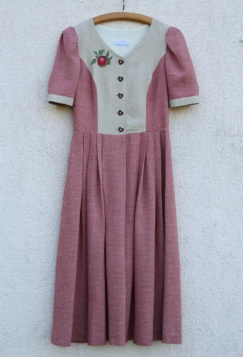 Vintage Dirndl Dress Women/'s Alpen Style Purple Plaid German Austrian Bavarian Folk National Costume Sound of Music Oktoberfest Medium Size