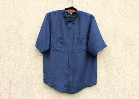 Vintage Blue Silk Shirt Men's Blue Silk Button Dow