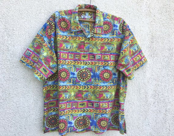 Shack Homme Beach Vert Tribal Party Etsy Surfer Xl Chemise rfAwrnXqxH