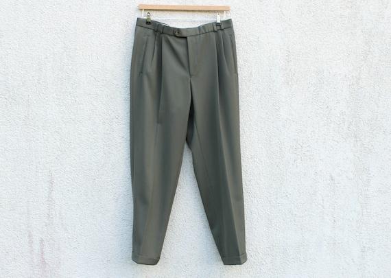 Vintage Olive Pleated Pants Men's Green Suit Pants