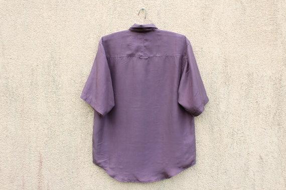 Vintage Purple Silk Shirt Men's Purple Silk Butto… - image 4