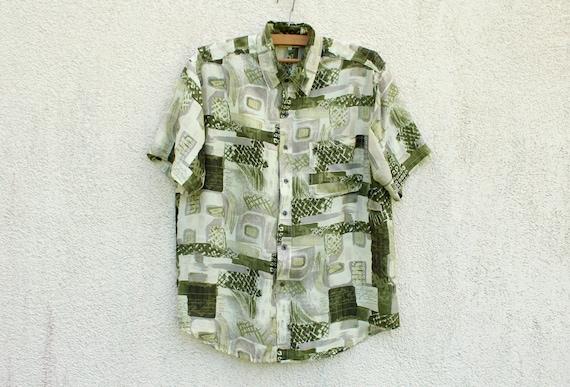 Vintage Green Silk Shirt Men's Green Silk Button D