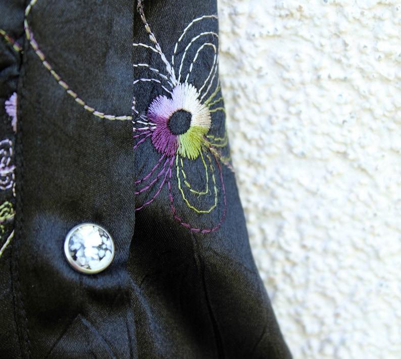 Vintage Disco Shirt Men/'s Steampunk Shirt Men/'s Evening Shirt Wrinkled Black Embroidered Shirt  Formal Cocktail Men/'s Shirt Snaps Closure