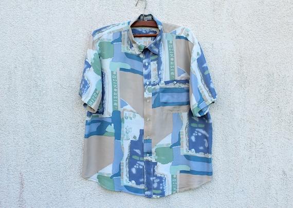Vintage Blue Green Silk Shirt Men's Silk Button Do