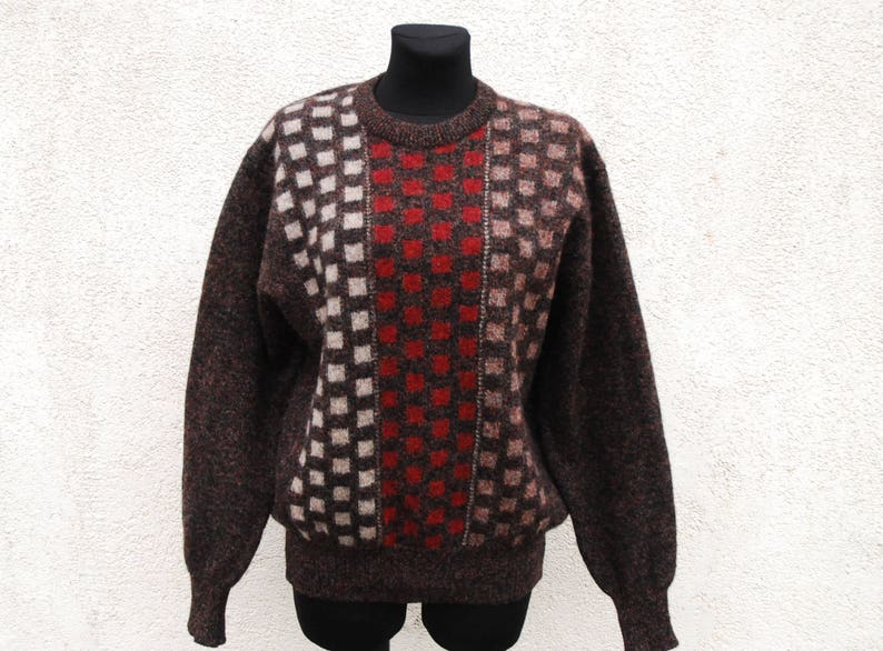 Vintage Brown Wool Sweater Men/'s Knitted Brown Wool Men/'s Sweater Knit Winter Sweater Knitwear Men/'s Gift Clothing Medium Size