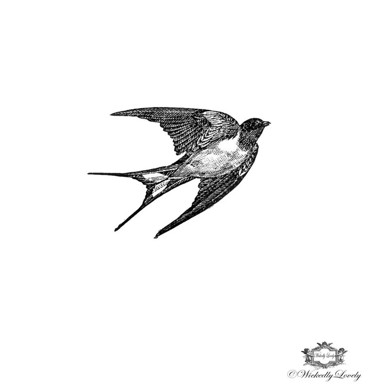 daa7446e3 Black and white Vintage swallow swallow tattoo bird tattoo | Etsy