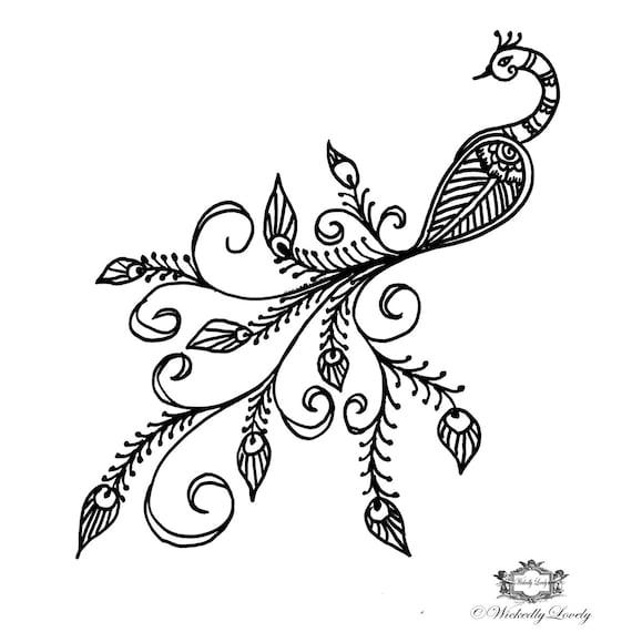 Boho Peacock Peacock Tattoo Henna Style Tattoo Festival Etsy