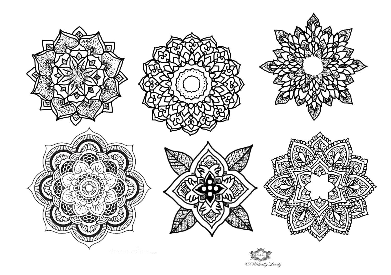 Mandala Temporary Tattoo Set Boho Tattoos Festival Tattoo Etsy