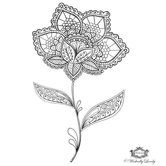 Boho Flower Henna Flower Tattoo Henna Style Tattoo Etsy