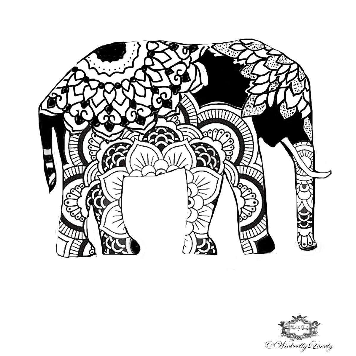 Boho Elephant Elephant Tattoo Henna Style Tattoo Festival Etsy