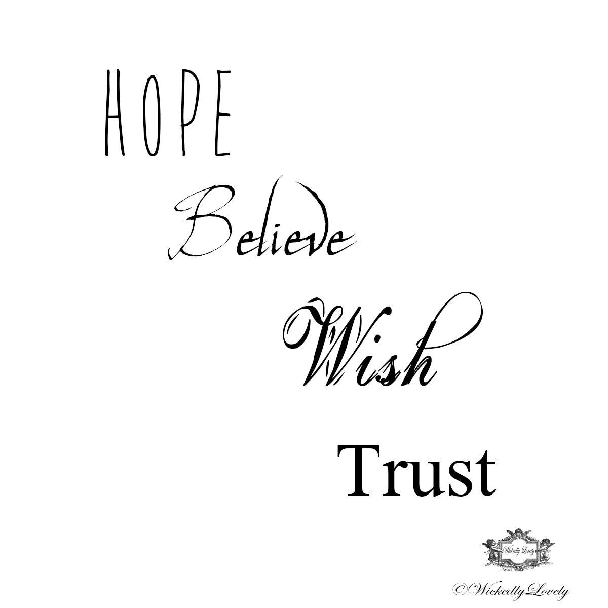 inspirational words set 3 hope believe wish trust body etsy