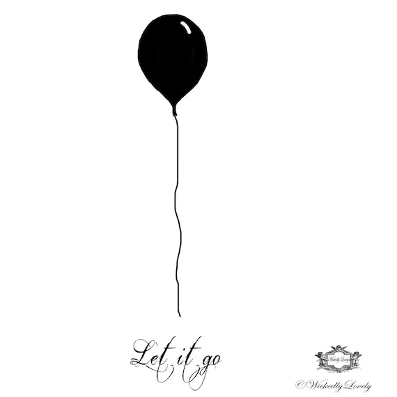 Let It Go Balloon Wickedly Lovely Skin Art Temporary Tattoo