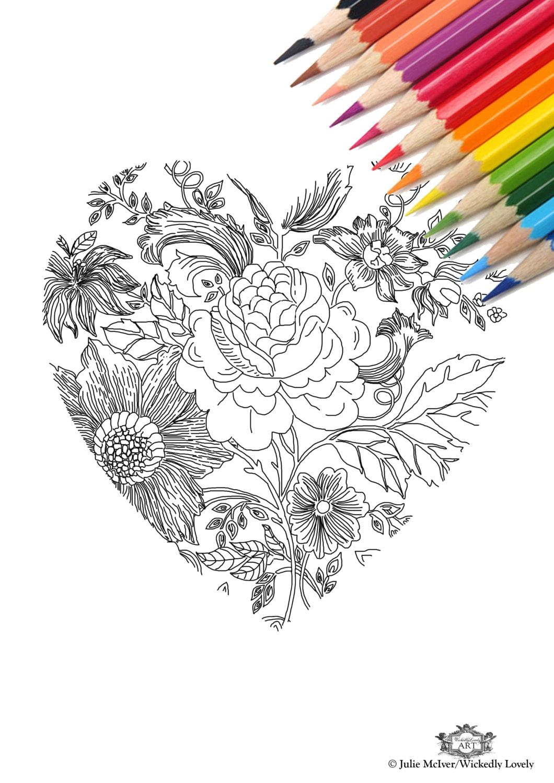 Corazón con estampado flores bricolaje en el hogar Digital   Etsy