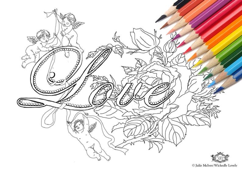 Love  with cherubs roses DIY Print at home Digital Download image 0