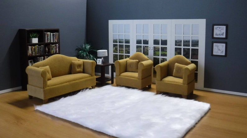 Dollhouse Miniature Living Room Furniture Brown Sofa Double Couch 1//12 Scale