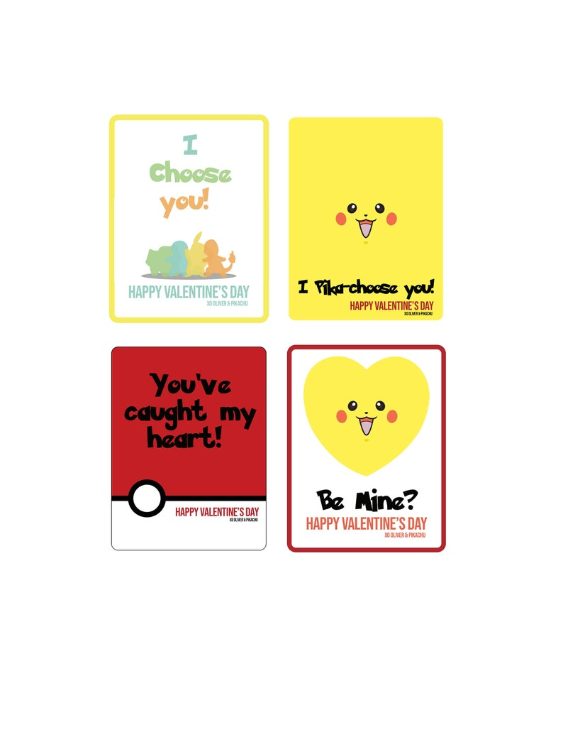 photograph about Pokemon Valentine Cards Printable identified as Custom made Pokemon Valentines Working day Playing cards x4 - PRINTABLE Document