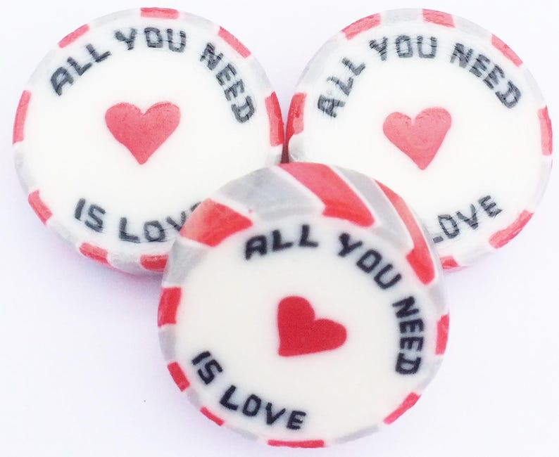 Red /& White TWO HEARTS ONE LOVE Wedding Favour Wrapped Sweet Rhubarb /& Custard