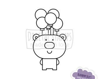 Digital stamp - Bear with balloons; Birthday; Digi