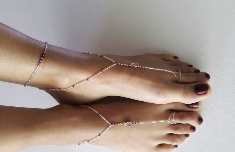 foot jewelry burgundy crystal,pink bead barefoot sandals tulip footwear beaded anklet barefoot sandals beach accessory