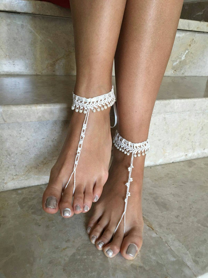 7c1c4c2f31554 İvory barefoot sandals, pearl foot Jewelry, Beach wedding accessory, pearl  barefoot shoes,crochet anklet summer shoes,free shipping