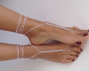 white barefoot sandals,  foot jewelry, bridal accessory, beach wedding, crochet fashion accessory, wedding shoes