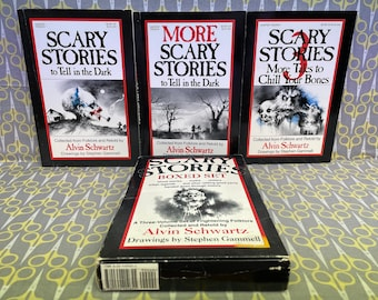 Scary Stories to Tell in the Dark boxed set by Alvin Schwartz Paperback Books Stephen Gammell Art scary horror trilogy original Vintage