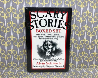 Sealed Scary Stories to Tell in the Dark boxed set by Alvin Schwartz paperback book trilogy boxed set scary original
