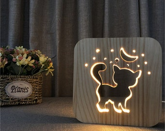 Wooden Cat Lamp, Night Light, Childrens Room, Baby Room, USB And Warm LED,  Bedside Lamp, Bedroom Decor, Gift Ideas Cat Lover, FREE Delivery
