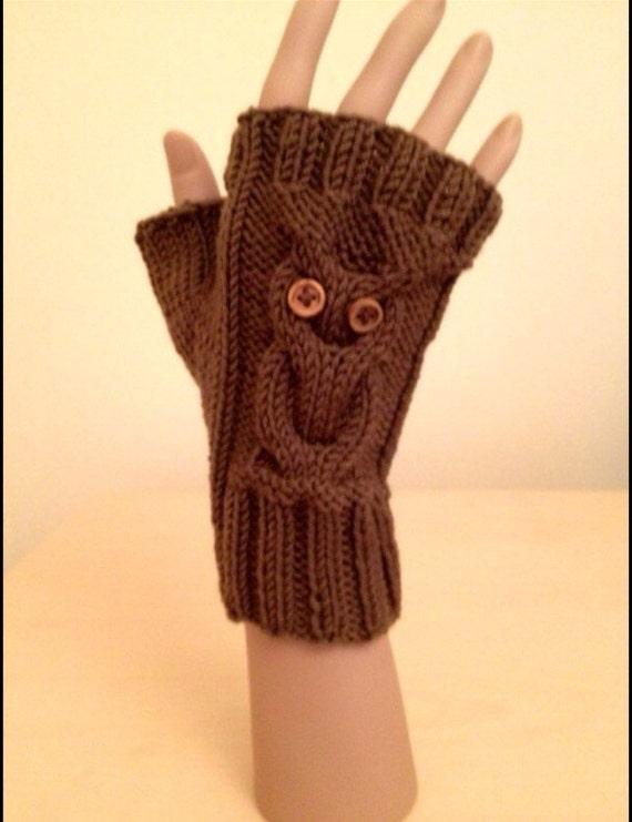 Knitting Pattern: Owl Fingerless Gloves (0046 TLM) - Knitted on two ...