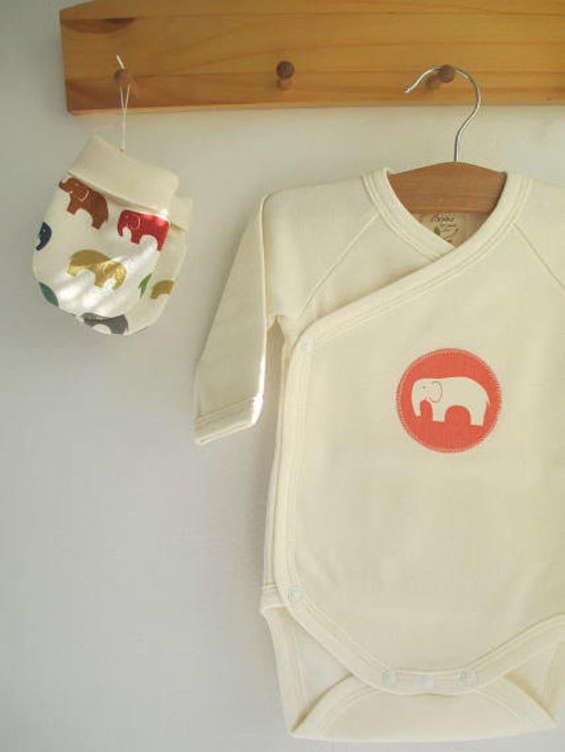 0907e4bea2b33 Organic Cotton Baby Kimono Bodysuit coral elephant appliqué