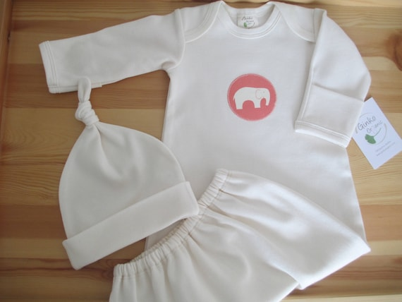 1ec2ae4bd391b Baby Sleep Gown and hat set Organic Cotton natural coral