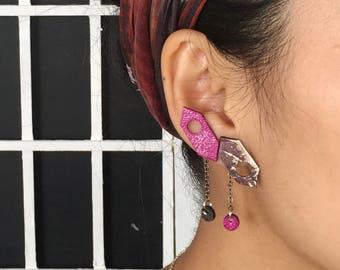 Indigo Pink Leather Earrings   Ear Climbers   Mismatched Earrings   Statement Earrings   Double Piercing Ear Jackets  Leather Chain Earrings