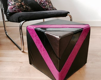 Leather Footstool   Quilted Leather Pouf in in black and fuchsia   Leather Ottoman   Pouffe   Handmade Footstool   Housewarming Gift