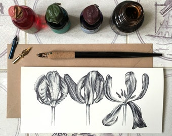 3 Dried Tulips Illustrated Card   Any Occasion Card   Floral Illustration/Flower Illustration Note Card, cream laid 280gsm, blank inside
