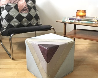 Leather Footstool | Quilted Leather Pouf Pouffe in Muted Tones | Ottoman | Eco Friendly Cube Furniture |Handmade Footstool|Housewarming Gift