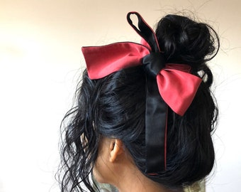 Silky Hair Scarf Duo Colour Black Red   Double-sided Silky Hair Tie Ribbon   Two Tone Silky Hair Ribbon   Silky Hair Scarf   Boho Head Wrap