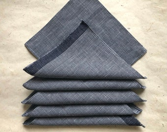 Cocktail Napkin Set of 6   Navy White Houndstooth Organic Linen Wool Cloth Napkin Coasters Reusable