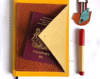 Passport Holder Leather Envelope Wallet   Pale Yellow and Orange Passport Cover   Family Travel Wallet Document Holder  3rd Anniversary Gift