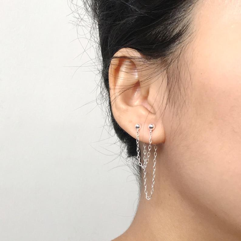 Minimal Earring Two Hole Earring Ear Climber Delicate Earring Double Piercing Earring Ear Jacket Double Chain Earring