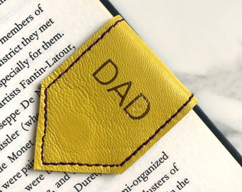 Yellow Leather Bookmark   Personalise Bookmark  Magnetic Bookmark with Purple Suede Lining   Book Lover 3rd Year Anniversary Gift