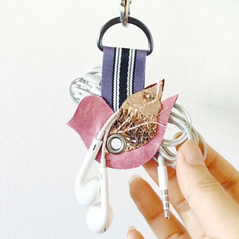 Earphone Organizer  Cable Organizer Leather Cord Holder Keychain Leather Cord Keeper Pink Bird Design Cord Organizer Leather Keychain