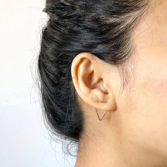 Two Hole Earring Double V Stud Chevron Multiple Lobe Piercing 14k Gold Filled