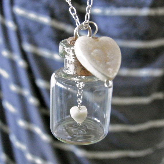 Miniature Bottle Necklace Tiny Heart Necklace