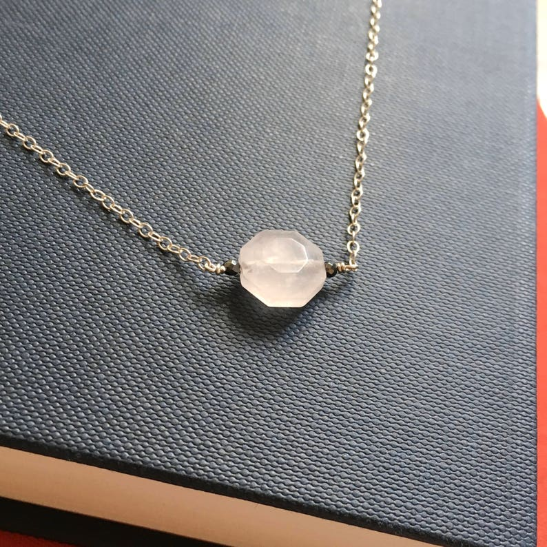 Delicate Necklace Layering Necklace Minimalist Necklace Rose Quartz Necklace Dainty Necklace Hexagon Stone Choker Necklace