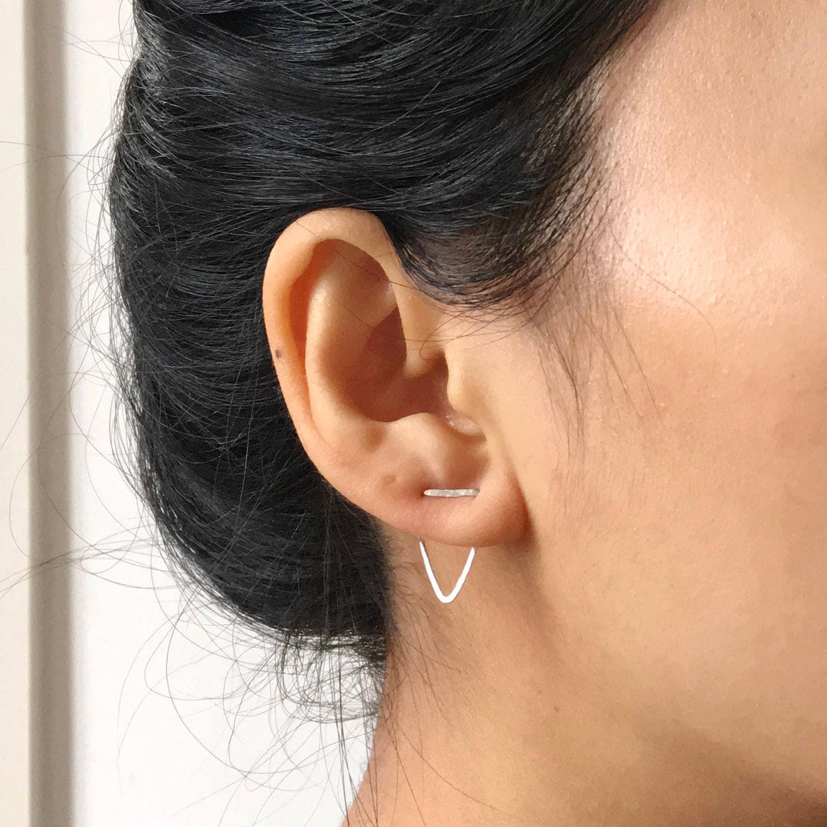 Doppelt Piercing zwei-Loch-Ohrring Dreieck Ohrringe   Etsy