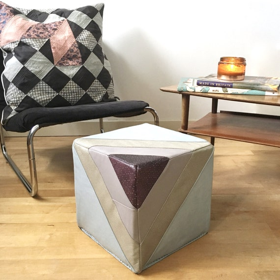 Incredible Leather Footstool Quilted Leather Pouf Pouffe In Muted Tones Ottoman Eco Friendly Cube Furniture Handmade Footstool Housewarming Gift Pabps2019 Chair Design Images Pabps2019Com