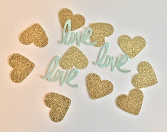 Mint and Gold Confetti- Love Confetti- Bridal Shower Decor- Mint and Gold Baby Shower Decor- Wedding Decor- Pink and Gold Wedding Decor