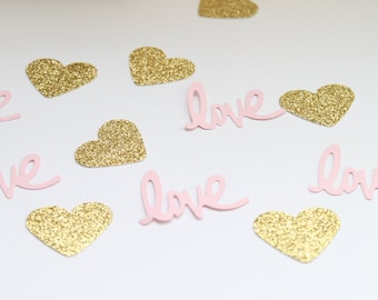 Pink and Gold Confetti- Love Confetti- Bridal Shower Decor- Pink and Gold Baby Shower Decor- Wedding Decor- Pink and Gold Wedding Decor