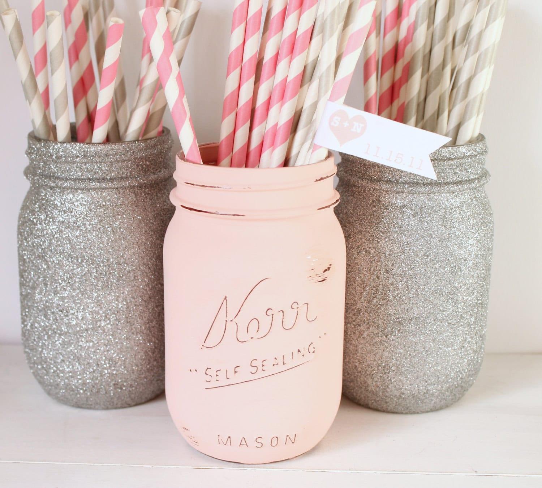 Painted Mason Jar Blush Pink And Silver Glitter Mason Jar Etsy